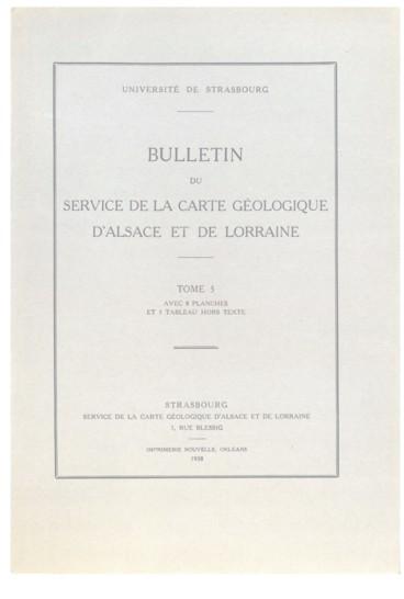 Carte Geologique Lorraine.Publications Du Service De La Carte Geologique D Alsace Et