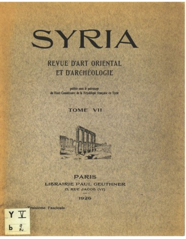 Le Congres International D Archeologie De Syrie Palestine Avril 1926 Persee