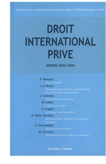 Actualite Du Nom De Famille En Droit International Prive Persee